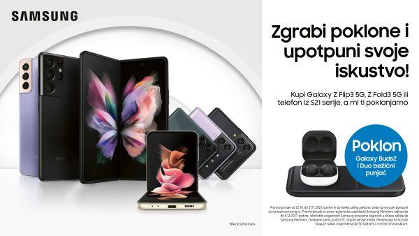 Uz kupovinu pametnih telefona iz Samsung Galaxy Z i S21 serije na poklon dobijate Galaxy Buds2 i duo bežični punjač